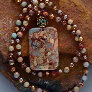 colorful natural stone necklace pendant rectangle